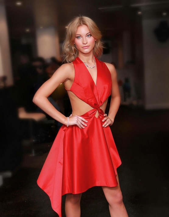 Luxury Red Satin Cocktail Dress