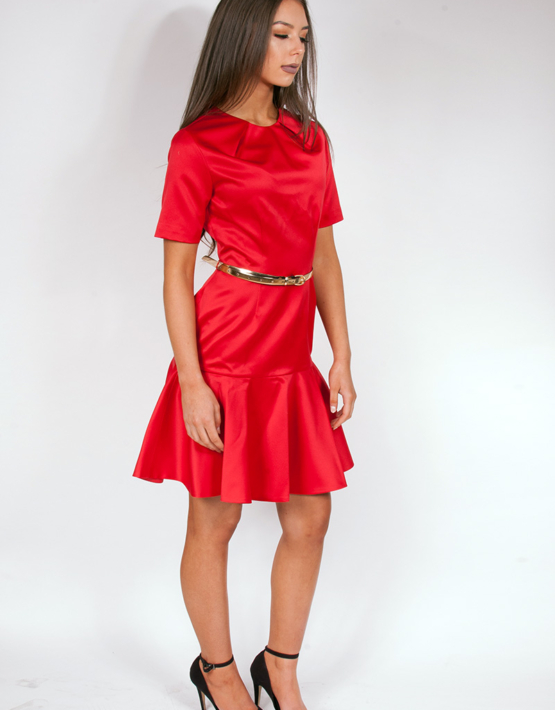 Pleat Neck Red