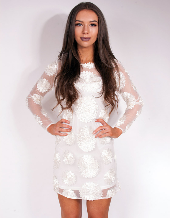 Flower Child Dress Mini Ivory