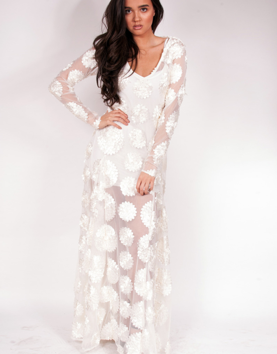 Flower Child Dress Maxi Ivory