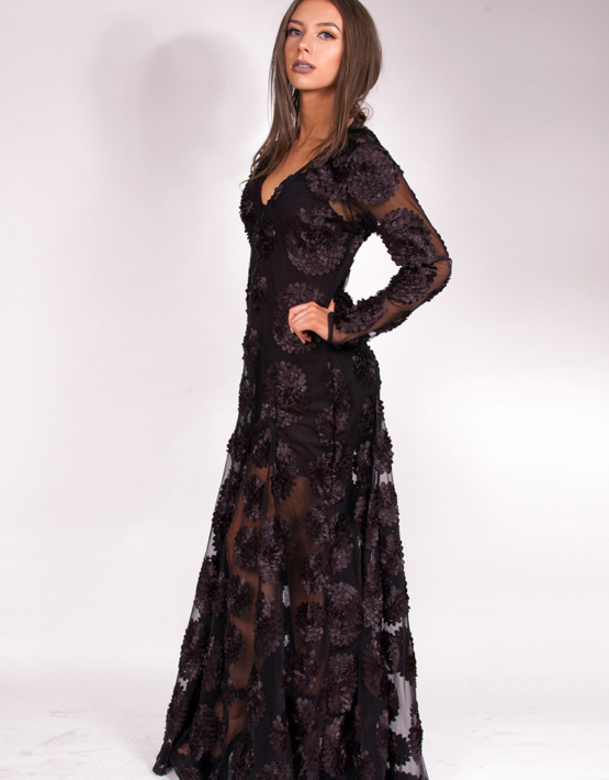 Flower Child Dress Maxi Black